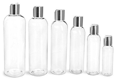 6 Oz. Clear Plastic Cosmo Rounds Bottles with Smooth Silver Disc Top Caps (24 ()