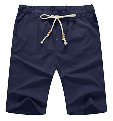 Mr.Zhang Men's Linen Casual Classic Fit Short Summer Beach Shorts Navy Blue-US L