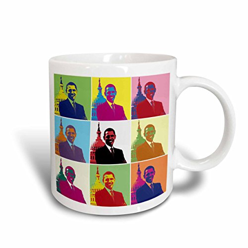 - 3dRose 130692_5 President Barack Obama Pop Art Mug, 11 oz, Red