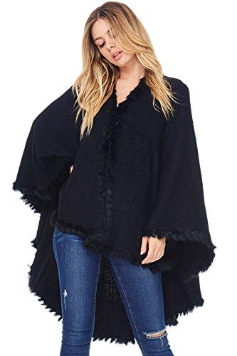 Faux Fur Trim Black Sweater - 8