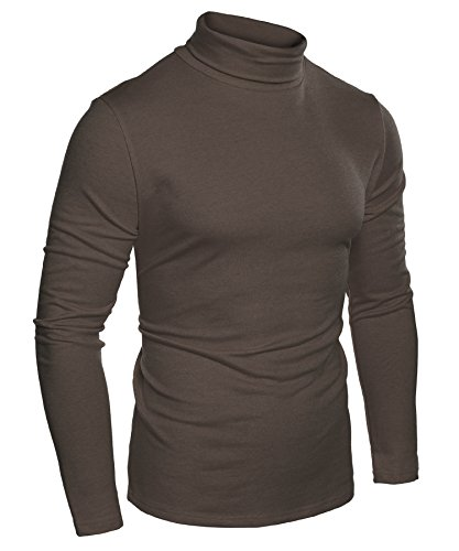 Coofandy Mens Casual Basic Thermal Turtleneck Slim Fit Pullover Thermal Sweaters, Brown, X-Large by COOFANDY
