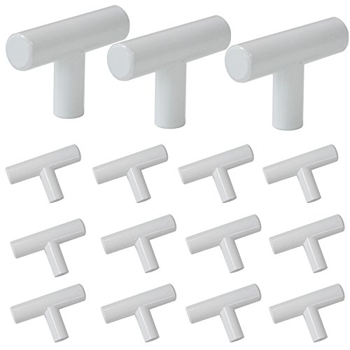 Probrico Modern Kitchen Cabinet Hardware Drawer Handle Pulls Kitchen Cupboard T Bar Knobs and Pull 12mm Diameter White - Single Hole - 15Pack (12mm Knob)