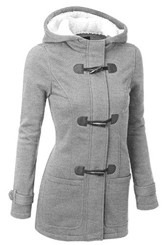 Capa Casual Lana Gris Abrigo Mujer Pullovers Chaqueta Parka con Jacket Invierno Yeesea Capucha Sudadera de 5v4Swwnq