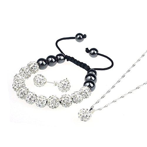 Yoyorule 10MM Crystal Ball Shamballa Bracelet Earrings Set Necklace Jewelry (White)