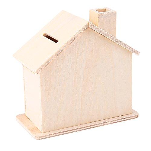 Ireav Wooden Piggy Bank Money Saving Box Creative Coin House Handmade DIY Educational Toys - 2PCS -
