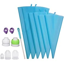 Losska Piping Bag and Coupler Set – 6 Thickened Reusable Silicone Frosting Bags (2S+2M+2L) + 5 Different Couplers for All Kinds of Russian Tips and Regular Tips + 6 Icing Bag Ties + 1 Cleaning Brush