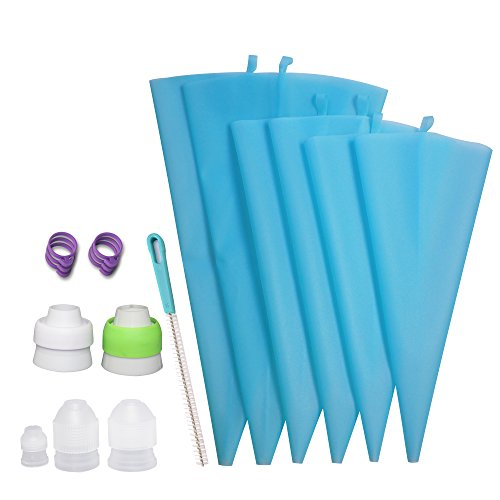 Losska Piping Bag and Coupler Set – 6 Thickened Reusable Silicone Frosting Bags (2S+2M+2L) + 5 Different Couplers for All Kinds of Russian Tips and Regular Tips + 6 Icing Bag Ties + 1 Cleaning Brush by Losska