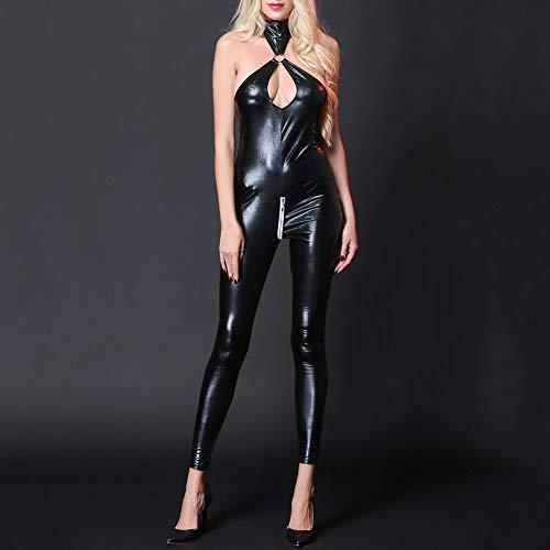 (dezirZJjx Women Leather Bodysuit,Sexy Lady Black Leather Latex Catsuits,Cutout Backless Sleeveless Jumpsuit, PU Bodysuit Collant Black)