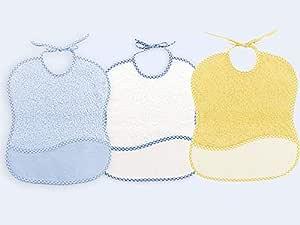 Ti TIN - Pack 3 Baberos de Punto de Cruz 100% Algodón con Tacto muy suave, Color Azul, 25x30 cm: Amazon.es: Bebé