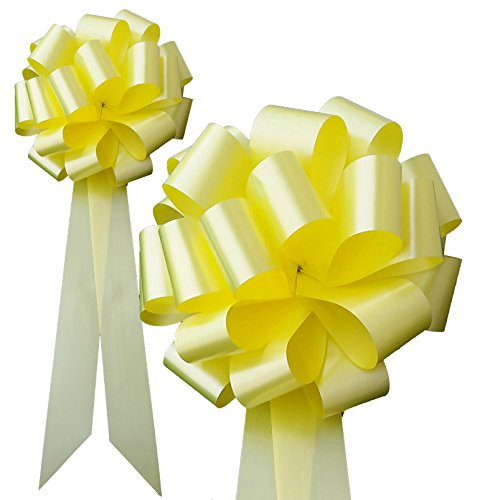Big Decorative Yellow Pull Bows - Set of 6, 20'' Long Tails, 9'' Wide, Support Our Troops Ribbon by GiftWrap Etc.