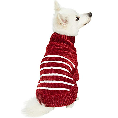 Blueberry Pet 2019 New 6 Colors Cozy Soft Chenille Classy Striped Dog Sweater in Burgundy Red, Back Length 10