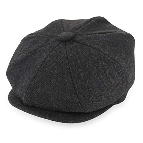 Hats in the Belfry Newsboy Men's Soft Wool Cap in 4 Sizes and 5 Colors (XXLarge, Brown Tweed)