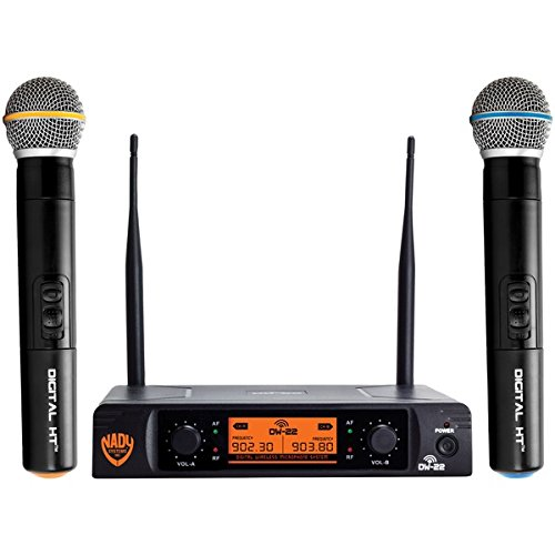 Nady DW-22 Dual Digital Wireless Handheld Microphone System - Dual fixed UHF frequency - Ultra-low latency with QPSK modulation - Dual XLR and mixed ¼