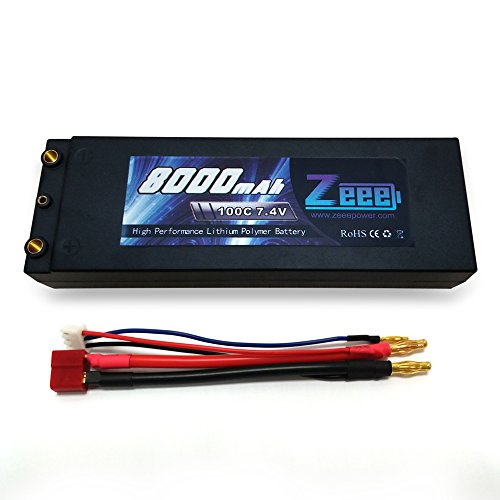 5.51x1.89x0.98 Inch Floureon 2 Packs 30C 2S 7.4V 5200mAh Lipo Battery Hard Case with Dean-Style T Connector for RC Quadcopter Drone and FPV