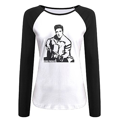 Female Elvis Presley Costumes (Creamfly Womens Elvis Presley Guitar Long Sleeve Raglan Baseball Tshirt L)