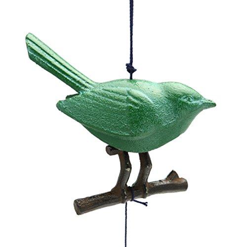 123kotobukijapanstore Kotobuki Iron Japanese Wind Chime, Green Songbird/branch Japanese Bird Bells