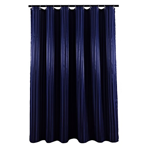 - Biscaynebay Fabric Shower Curtain Liner, Luxurious and Thick Two Tones Damask Stripes Waterproof and Water Resistant Bathroom Curtain Set, 72 by 72 Inch, Striped Navy