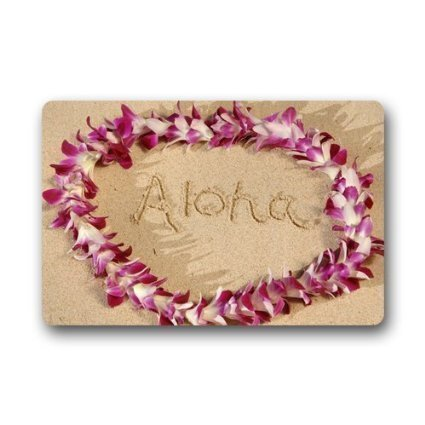 Jiao87 Custom Door Mat Hawaiian Flower Garland Aloha Summer Beach Door Mat Rug Indoor/Outdoor Mats Welcome Doormat Decor Rug 15.7X23.6 Inch (Aloha Flannel)