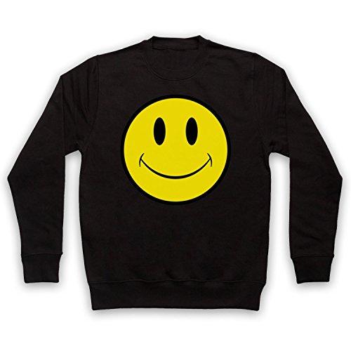 shirt Acid House Des Sweat Smiley Noir Face Adultes IC6qCUw