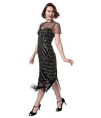 Unique Vintage Black & Gold Beaded Cap Sleeve Rolande Fringe Flapper Dress