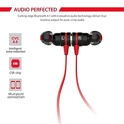 Bluetooth Earbuds, Sweatproof Bluetooth Headphones with Magnetic Attraction Sports In-Ear Noise Cancelling Earphones Headsets Wireless Stereo Earbuds with Mic
