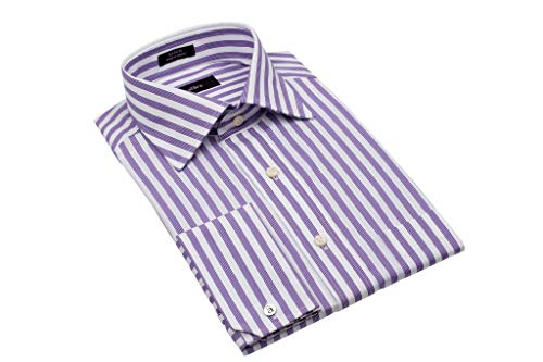 - Alara Engineered Lavender Stripe Medium Spread Collar Dress Shirt French Cuff with Pocket in Egyptian Cotton (Medium)