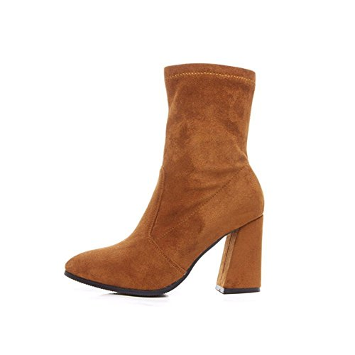 Coarse Cylinder - DIDIDD in the Cylinder with Coarse Pointed High-Heeled Boots Shoes and Elegant Work,36 Eu,Kaqi