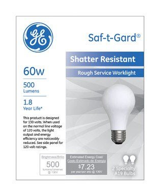 Ge Rough Service Saf-T-Gard 60 W 500 Lumens A19 Med Base Sleeved