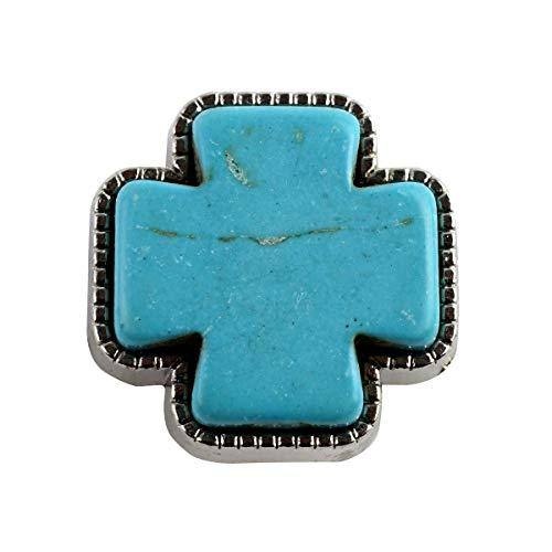 TG,LLC Turquoise Cross Screw Back Concho Western Leathercraft Accessory