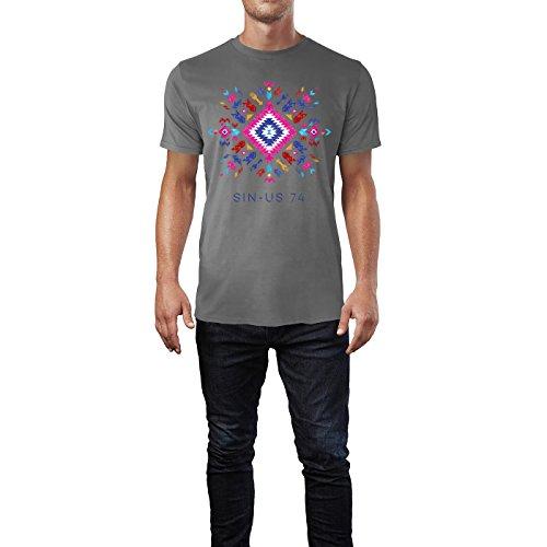 SINUS ART® Buntes Ethno Muster Herren T-Shirts in Grau Charocoal Fun Shirt mit tollen Aufdruck