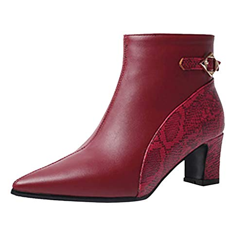 ◕‿◕Watere◕‿◕ Autumn and Winter Stitching Color Chunky Heels Boots Ankle Boots for Women Snakeskin Booties with Heels Red