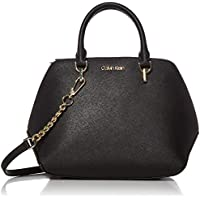 Calvin Klein Hayden Saffiano Leather Triple Compartment Chain Satchel (Black/Gold)