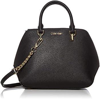 Calvin Klein Hayden Saffiano Leather Triple Compartment Chain Satchel