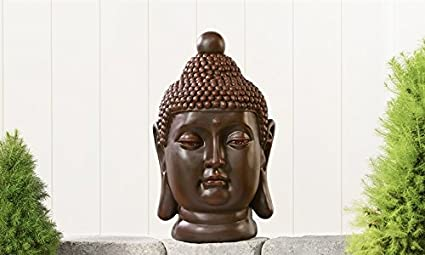 CLAY BUDDHA HEAD DESIGN GARDEN STATUE