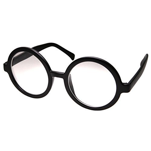 grinderPUNCH Adult Vintage Inspired Large Round Circle Clear Lens Non Prescription Glasses