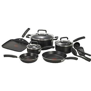 T-fal C530SC Signature Nonstick Expert Thermo-Spot Heat Indicator Dishwasher Safe Cookware Set, 12-Piece, Black