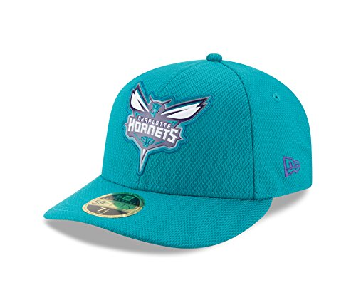 NBA Charlotte Hornets Adult Bevel Team Low Profile 59FIFTY Fitted Cap, 7 1/4, Teal