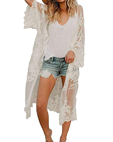MeiLing Women's Sexy Bikini Swimsuit Bathing Suit Cover Ups Swimwear Beach Dress Long Kimono Jacket Cardigan Robe (White 6)
