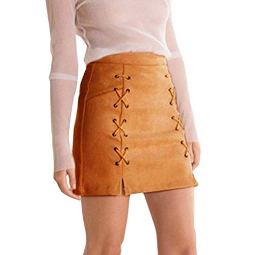 ADESHOP Femmes Bandage Tissu Suede Fabric Mini Sexy Jupe Slim Stretch Sans Couture Jupe Jaune