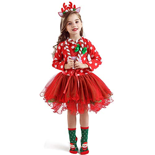 NNJXD Christmas Toddler Baby Girls Outfits Polka Dot Xmas Tutu Dress Santa Claus Pattern Red Dresses Size 5-6 Years Red/White