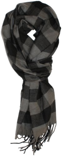Ted and Jack - Jack's Classic Cashmere Feel Buffalo Check Scarf (Grey and Black) ()