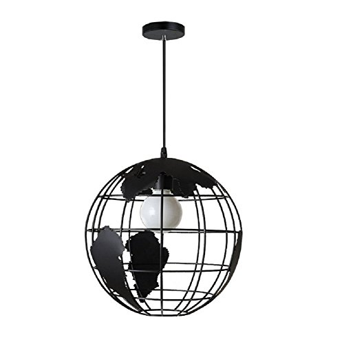 LgoodL Industrial Earth Shape Globe Map Pendant Light Edison Ceiling Lamp Vintage Style Wrought Iron Chandelier Lighting Modern Creative Hanging Lamp Light Fixture Black - Earth Ceiling Fixture