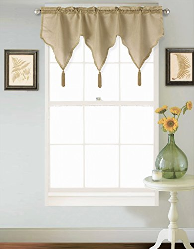 GorgeousHomeLinen (SARAH) 1 Taupe Tan Ascot Faux Silk Rod Pocket Elegant Waterfall Window Small Valance with Decorative Tassels, 42