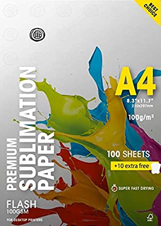 Amazon.com: Papel de sublimación Flash 100 gsm (A4/8,3