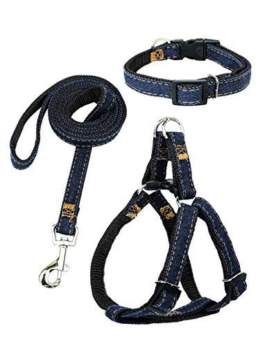 Hamour Dogs Leash Harness Adjustable Collar Set Denim Pet Lead Vest Small Medium Large for Walking Training, (3 in 1) Denim Black, Size M