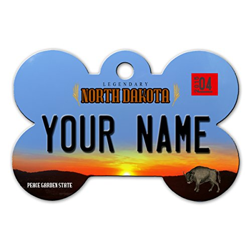 BleuReign(TM) Personalized Custom Name 2016 North Dakota State License Plate Bone Shaped Metal Pet ID Tag with Contact Information