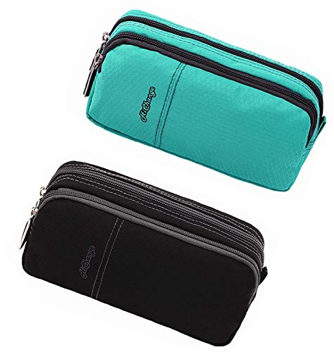 Pencil Case, Large Capacity Pencil Cases Pencil Bag with Two Compartments … (2Pack Black+Green) by HiChange