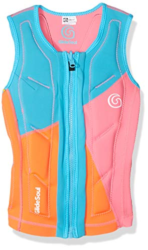 GlideSoul Women's Flashback 74 Collection Reversible Impact Vest, Peach/Pink/Light Blue, Medium -
