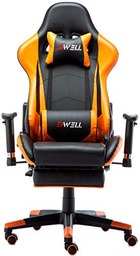 Ergonomic Gaming Chair with Headrest and Lumbar Massage Support,Racing Style PC Computer Chair Height Adjustable Swivel with Retractable Footrest Support Leather Reclining Executive Office (Orange)