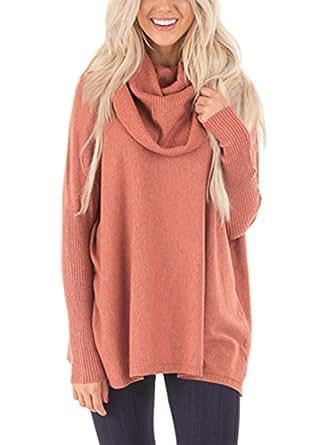 Bdcoco Women's Chunky Long Sleeve Turtleneck Knit Pullover Sweater Jumper Size S-XXL Orange